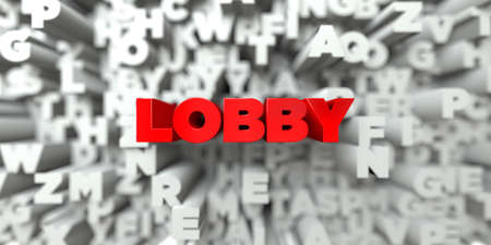 royalty: LOBBY -  Red text on typography background - 3D rendered royalty free stock image. This image can be used for an online website banner ad or a print postcard.