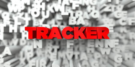 tracker red text on typography background 3d rendered royalty