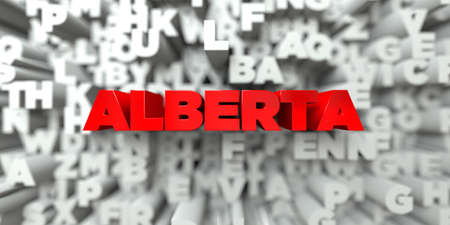 stock image: ALBERTA -  Red text on typography background - 3D rendered royalty free stock image. This image can be used for an online website banner ad or a print postcard. Stock Photo