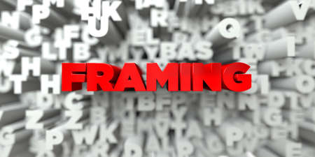 FRAMING -  Red text on typography background - 3D rendered royalty free stock image. This image can be used for an online website banner ad or a print postcard.