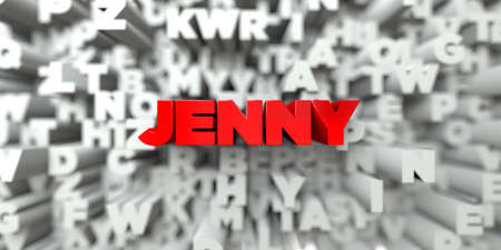 jenny: JENNY -  Red text on typography background - 3D rendered royalty free stock image. This image can be used for an online website banner ad or a print postcard.