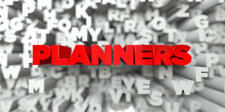 planners: PLANNERS -  Red text on typography background - 3D rendered royalty free stock image. This image can be used for an online website banner ad or a print postcard.