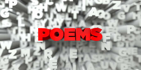poems: POEMS -  Red text on typography background - 3D rendered royalty free stock image. This image can be used for an online website banner ad or a print postcard.