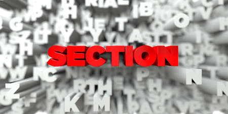 SECTION -  Red text on typography background - 3D rendered royalty free stock image. This image can be used for an online website banner ad or a print postcard.