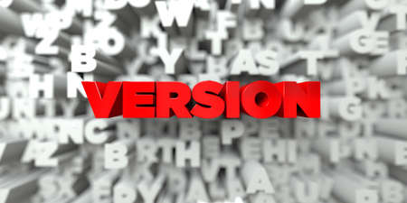 version: VERSION -  Red text on typography background - 3D rendered royalty free stock image. This image can be used for an online website banner ad or a print postcard. Stock Photo