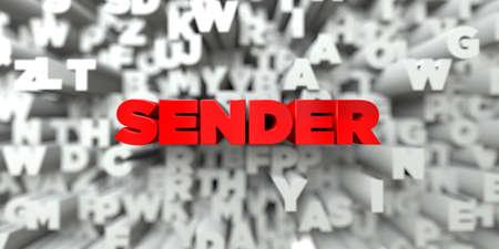 SENDER - Rode tekst op typografie achtergrond - afbeelding 3D royalty-vrije stock. Deze afbeelding kan worden gebruikt voor een banneradvertentie voor een online website of een gedrukte ansichtkaart. Stockfoto