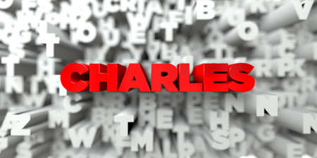 charles: CHARLES -  Red text on typography background - 3D rendered royalty free stock image. This image can be used for an online website banner ad or a print postcard.