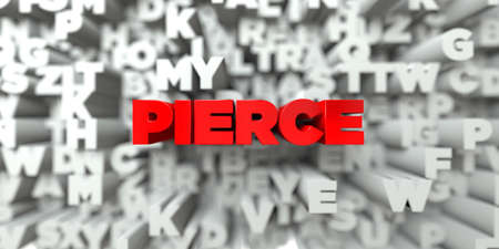 free stock: PIERCE -  Red text on typography background - 3D rendered royalty free stock image. This image can be used for an online website banner ad or a print postcard. Stock Photo