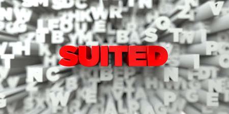 free stock: SUITED -  Red text on typography background - 3D rendered royalty free stock image. This image can be used for an online website banner ad or a print postcard. Stock Photo
