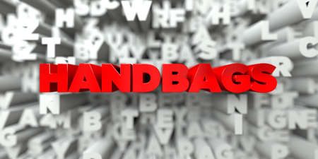 HANDBAGS -  Red text on typography background - 3D rendered royalty free stock image. This image can be used for an online website banner ad or a print postcard. Stock Photo