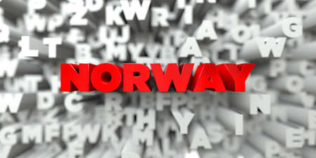 single word: NORWAY -  Red text on typography background - 3D rendered royalty free stock image. This image can be used for an online website banner ad or a print postcard.