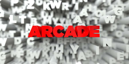 arcade: ARCADE -  Red text on typography background - 3D rendered royalty free stock image. This image can be used for an online website banner ad or a print postcard.