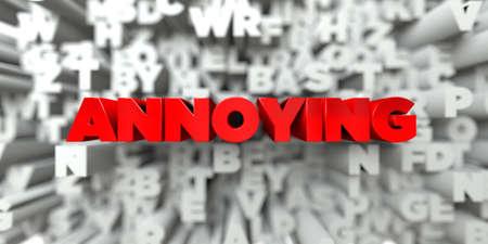 molesto: MOLESTO - El texto rojo en el fondo de la tipografía - Imagen de stock libre 3D prestados. Esta imagen se puede utilizar para un anuncio bandera del Web site en línea o una postal de impresión.
