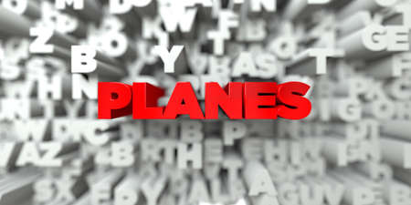 free stock: PLANES -  Red text on typography background - 3D rendered royalty free stock image. This image can be used for an online website banner ad or a print postcard.