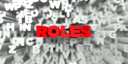 free stock: ROLES -  Red text on typography background - 3D rendered royalty free stock image. This image can be used for an online website banner ad or a print postcard.