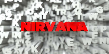 nirvana: NIRVANA -  Red text on typography background - 3D rendered royalty free stock image. This image can be used for an online website banner ad or a print postcard. Stock Photo