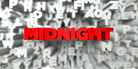 MIDNIGHT -  Red text on typography background - 3D rendered royalty free stock image. This image can be used for an online website banner ad or a print postcard. Stock Photo