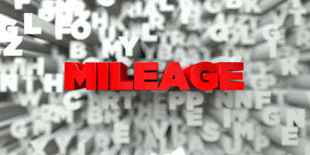 MILEAGE -  Red text on typography background - 3D rendered royalty free stock image. This image can be used for an online website banner ad or a print postcard.