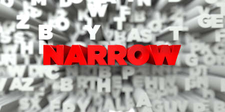 NARROW -  Red text on typography background - 3D rendered royalty free stock image. This image can be used for an online website banner ad or a print postcard.