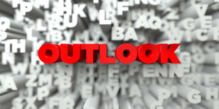 OUTLOOK -  Red text on typography background - 3D rendered royalty free stock image. This image can be used for an online website banner ad or a print postcard.