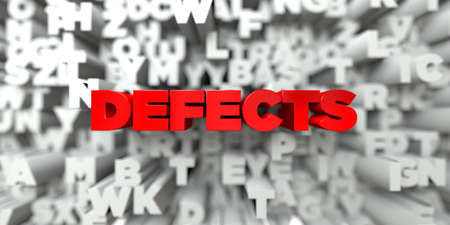 defects: DEFECTS -  Red text on typography background - 3D rendered royalty free stock image. This image can be used for an online website banner ad or a print postcard. Stock Photo