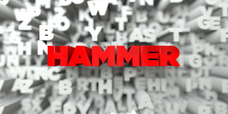 free stock: HAMMER -  Red text on typography background - 3D rendered royalty free stock image. This image can be used for an online website banner ad or a print postcard. Stock Photo