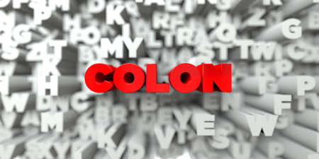COLON -  Red text on typography background - 3D rendered royalty free stock image. This image can be used for an online website banner ad or a print postcard. Stock Photo