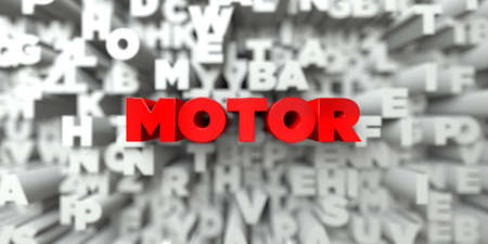 MOTOR -  Red text on typography background - 3D rendered royalty free stock image. This image can be used for an online website banner ad or a print postcard.