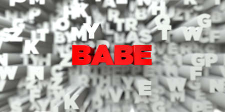 babe: BABE -  Red text on typography background - 3D rendered royalty free stock image. This image can be used for an online website banner ad or a print postcard. Stock Photo