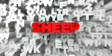 SHEEP -  Red text on typography background - 3D rendered royalty free stock image. This image can be used for an online website banner ad or a print postcard. Reklamní fotografie