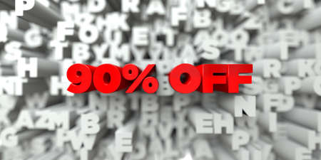 sentence typescript: 90% OFF -  Red text on typography background - 3D rendered royalty free stock image. This image can be used for an online website banner ad or a print postcard.