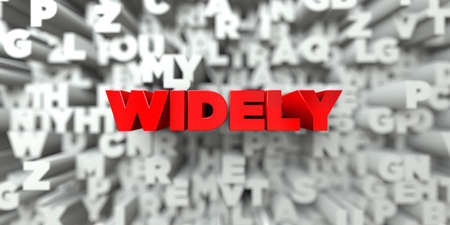 widely: WIDELY -  Red text on typography background - 3D rendered royalty free stock image. This image can be used for an online website banner ad or a print postcard.