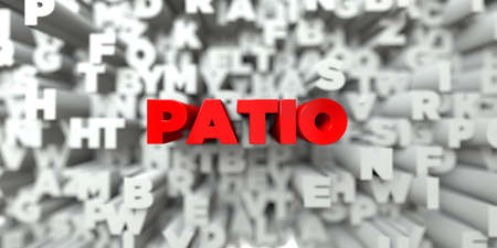 patio: PATIO -  Red text on typography background - 3D rendered royalty free stock image. This image can be used for an online website banner ad or a print postcard.