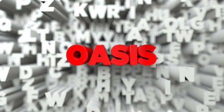 an oasis: OASIS -  Red text on typography background - 3D rendered royalty free stock image. This image can be used for an online website banner ad or a print postcard. Stock Photo