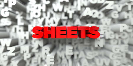 sentence typescript: SHEETS -  Red text on typography background - 3D rendered royalty free stock image. This image can be used for an online website banner ad or a print postcard.