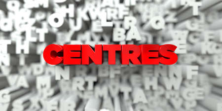 centres: CENTRES -  Red text on typography background - 3D rendered royalty free stock image. This image can be used for an online website banner ad or a print postcard. Stock Photo