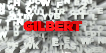 gilbert: GILBERT -  Red text on typography background - 3D rendered royalty free stock image. This image can be used for an online website banner ad or a print postcard. Stock Photo