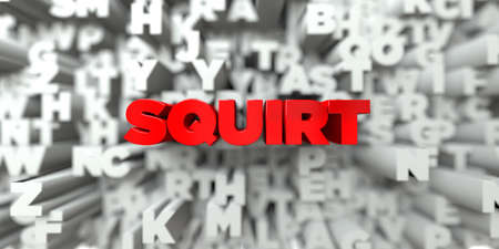 SQUIRT -  Red text on typography background - 3D rendered royalty free stock image. This image can be used for an online website banner ad or a print postcard. Stock Photo
