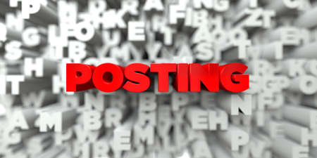 POSTING -  Red text on typography background - 3D rendered royalty free stock image. This image can be used for an online website banner ad or a print postcard.