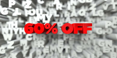 60% OFF -  Red text on typography background - 3D rendered royalty free stock image. This image can be used for an online website banner ad or a print postcard. Stock Photo