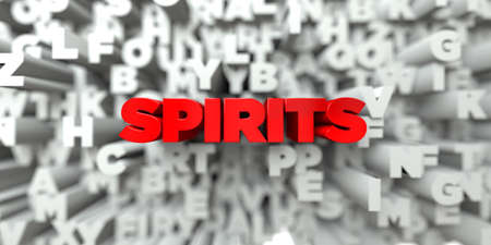 SPIRITS -  Red text on typography background - 3D rendered royalty free stock image. This image can be used for an online website banner ad or a print postcard.