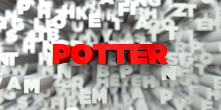 POTTER -  Red text on typography background - 3D rendered royalty free stock image. This image can be used for an online website banner ad or a print postcard.
