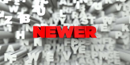 newer: NEWER -  Red text on typography background - 3D rendered royalty free stock image. This image can be used for an online website banner ad or a print postcard.