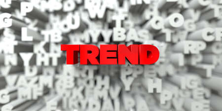 TREND -  Red text on typography background - 3D rendered royalty free stock image. This image can be used for an online website banner ad or a print postcard.