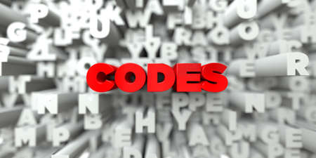 CODES -  Red text on typography background - 3D rendered royalty free stock image. This image can be used for an online website banner ad or a print postcard. Reklamní fotografie