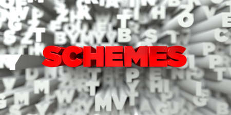 schemes: SCHEMES -  Red text on typography background - 3D rendered royalty free stock image. This image can be used for an online website banner ad or a print postcard.