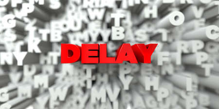 delay: DELAY -  Red text on typography background - 3D rendered royalty free stock image. This image can be used for an online website banner ad or a print postcard.