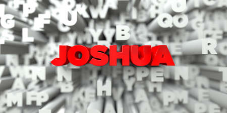 free stock: JOSHUA -  Red text on typography background - 3D rendered royalty free stock image. This image can be used for an online website banner ad or a print postcard. Stock Photo