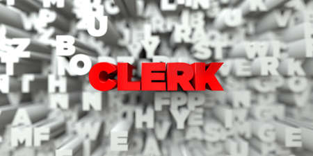 royalty: CLERK -  Red text on typography background - 3D rendered royalty free stock image. This image can be used for an online website banner ad or a print postcard. Stock Photo