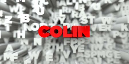 COLIN -  Red text on typography background - 3D rendered royalty free stock image. This image can be used for an online website banner ad or a print postcard.